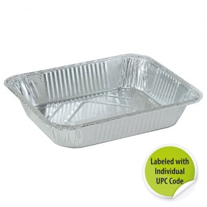 Aluminum 1/2 Size Deep Pan - Individually Labeled with UPC (Case Qty: 100)