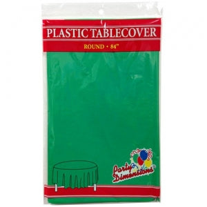 "84"" Green Round Plastic Tablecover 36 Count (Case Qty: 36)"