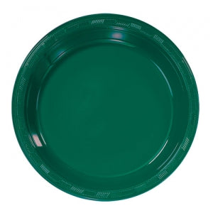 "9"" Hunter Green Plastic Plate 50 Count (Case Qty: 600)"