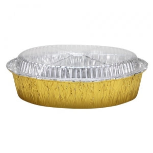 "Elements - 9"" Round Aluminum Pan with Lid - Gold - 5 Count (Case Qty: 180)"