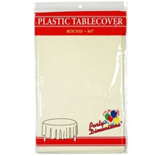 "84"" Ivory Round Plastic Tablecover 36 Count (Case Qty: 36)"