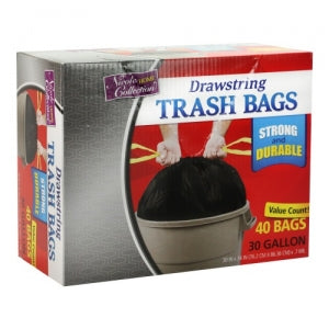 Trash Bags - 30 Gallon - Drawstring - Trash Bag - Black - 40 Count (Case Qty: 400)
