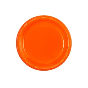 "7"" Plastic Plate - Orange - 50 Count (Case Qty: 600)"