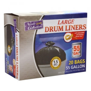 Trash Bags - 55 Gallon - Twist Tie - Drum Liner - Black (Case Qty: 120)