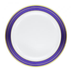 "Magnificence - 9"" Plastic Plates - Blue/Gold - 10 ct. (Case Qty: 120)"