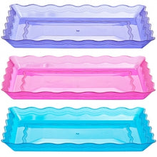 "9"" X 13"" Rectangular Plastic Trays, Assorted Colors (Case Qty: 25)"