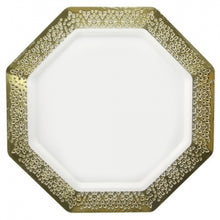 "Lacetagon - 11"" Pearl Plate - Gold Rim - 10 Count (Case Qty: 120)"
