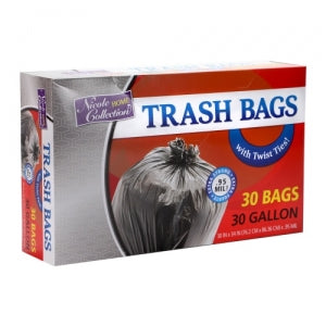 Trash Bags - 30 Gallon - Twist Tie - Trash Bag - Black (Case Qty: 500)
