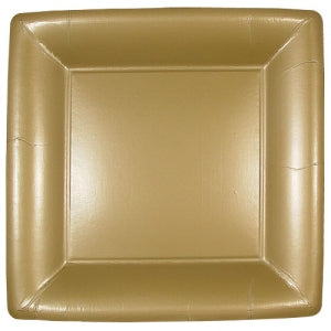 "Solid Gold 10"" Square Dinner Paper Plates (Case Qty: 576)"