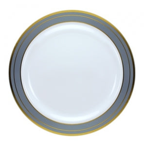 "Magnificence - 9"" Plastic Plate - Platinum - 10 ct. (Case Qty: 120)"