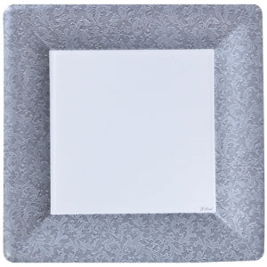 "Texture Silver 10"" Square Dinner Paper Plates (Case Qty: 576)"