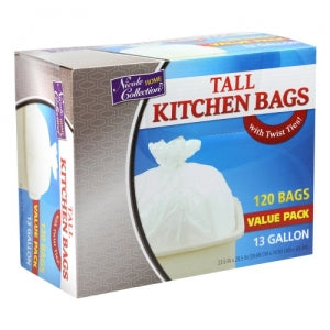 Trash Bags - 13 Gallon - Twist Tie - Tall Kitchen Bag - White - 120 Count (Case Qty: 480)
