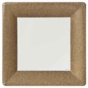 "Texture Gold 10"" Square Dinner Paper Plates (Case Qty: 576)"