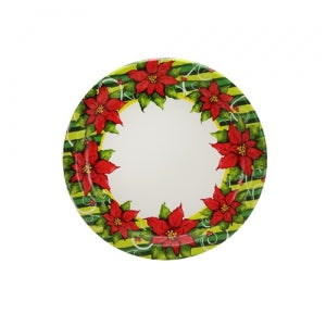"Poinsettia Wreath - 7"" Paper Plates - 36 Count (Case Qty: 1296)"
