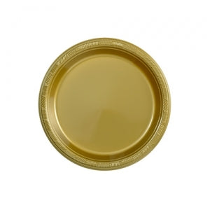 "7"" Plastic Plate - Gold - 50 Count (Case Qty: 600)"
