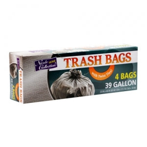 Trash Bags - 39 Gallon - Twist Tie - Trash Bag - Black (Case Qty: 192)