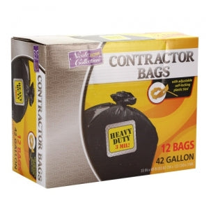 Trash Bags - 42 Gallon - Twist Tie - Contractor Bag - Black (Case Qty: 72)