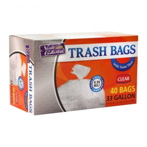 Trash Bags - 33 Gallon - Twist Tie - Trash Bag - Clear (Case Qty: 240)