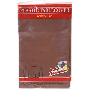 "84"" Chestnut Round Plastic Tablecover 36 Count (Case Qty: 36)"