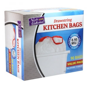Trash Bags - 13 Gallon - Drawstring - Kitchen Bag - White - 90 Count (Case Qty: 360)