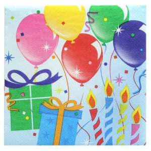 Birthday Balloons - Lunch Napkins - 24 Count (Case Qty: 864)
