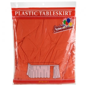 "29"" X 14'' Orange Plastic Tableskirt (Case Qty: 36)"