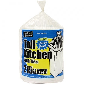 Trash Bags - 13 Gallon Tall Kitchen Bags with Ties on a Roll 215 per Roll (Case Qty: 1290)