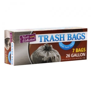 Trash Bags - 26 Gallon - Twist Tie - Trash Bag - Black (Case Qty: 336)