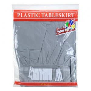 "29"" X 14'' Silver Plastic Tableskirt 36 Count (Case Qty: 36)"