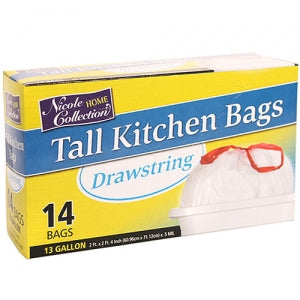 Trash Bags - 13 Gallon Tall Kitchen Drawstring Trash Bags 14 Count (Case Qty: 336)