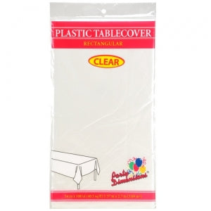"54"" X 108"" Clear Rectangular Plastic Tablecover - Clear (Case Qty: 48)"