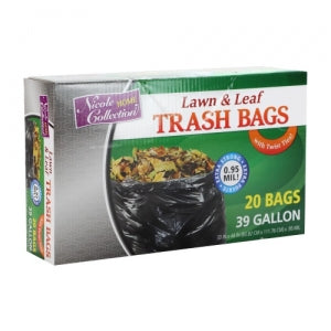 Trash Bags - 39 Gallon - Twist Tie - Lawn & Leaf Bag - Black (Case Qty: 200)