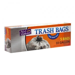 Trash Bags - 33 Gallon - Twist Tie - Trash Bag - Black (Case Qty: 240)
