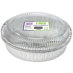 "Aluminum 9"" Round Pan with Dome Lid 3 Count (Case Qty: 108)"