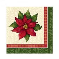 Christmas Poinsettia Beverage Napkin 75 Count (Qty: 2592)