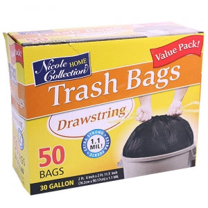 Trash Bags - 31 Gallon Drawstring Trash Bags 50 Count (Case Qty: 200)