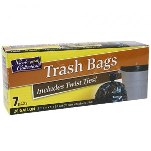 Trash Bags - 26 Gallon Trash Bags with Ties 7 Count (Case Qty: 336)