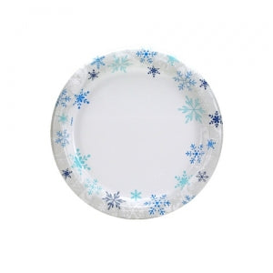 "Blue Snowflakes - 7"" Paper Plates - 48 Count (Case Qty: 576)"