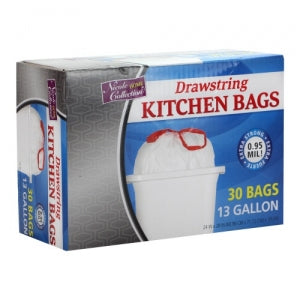 Trash Bags - 13 Gallon - Drawstring - Kitchen Bag - White - 30 Count (Case Qty: 360)