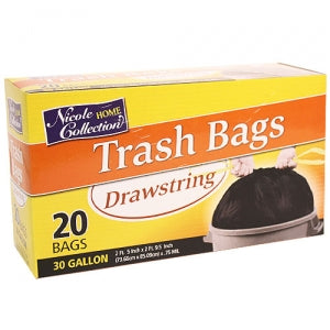 Trash Bags - 30 Gallon Drawstring Trash Bags 20 Count (Case Qty: 400)