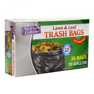 Trash Bags - 39 Gallon - Twist Tie - Lawn & Leaf Bag - Black - 30 Count (Case Qty: 300)