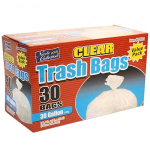 Trash Bags - 30 Gallon Clear Trash Bags with Ties 30 Count (Case Qty: 180)