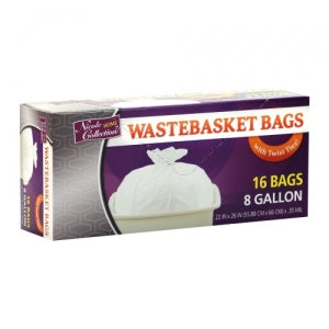 Trash Bags - 8 Gallon - Twist Tie - Wastebasket Bag - White (Case Qty: 768)
