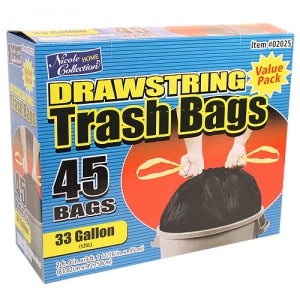 Trash Bags - 33 Gallon Drawstring Trash Bags 45 Count (Case Qty: 270)