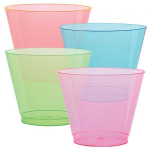 9 oz. Neon Plastic Tumblers 4 Assorted Colors 50 Count (Case Qty: 1200)