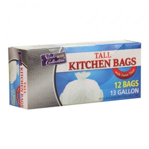 Trash Bags - 13 Gallon - Twist Tie - Tall Kitchen Bag - White (Case Qty: 576)