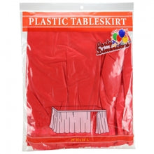 "29"" X 14'' Plastic Tableskirt - Red (Case Qty: 36)"