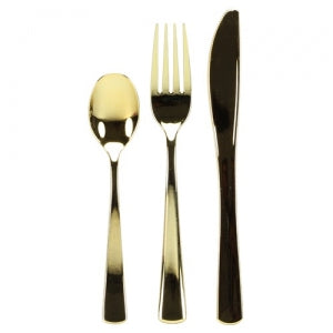 Polished Gold Plastic Cutlery - Boxed - 24 Count (Case Qty: 576)