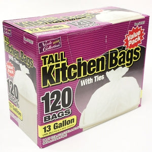 Trash Bags - 13 Gallon Tall Kitchen Bags with Ties 120 Count (Case Qty: 480)