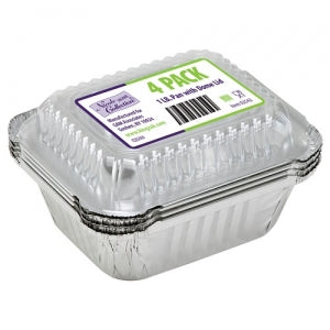 Aluminum 1 LB Oblong Pan with Dome Lid 4 Count (Case Qty: 192)